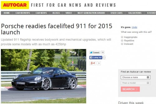 Facelifting 911 na 2015